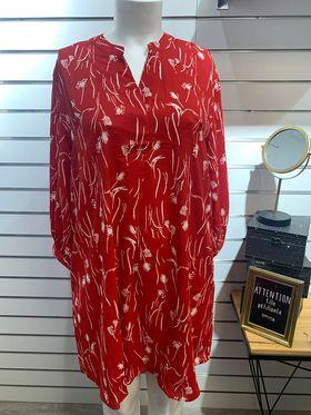 robe rouge détails blanc - ROB-ROUG-DET-BLC