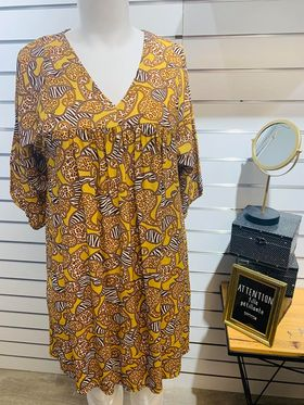 robe jaune motif  - ROBE-MOTIF-JAU