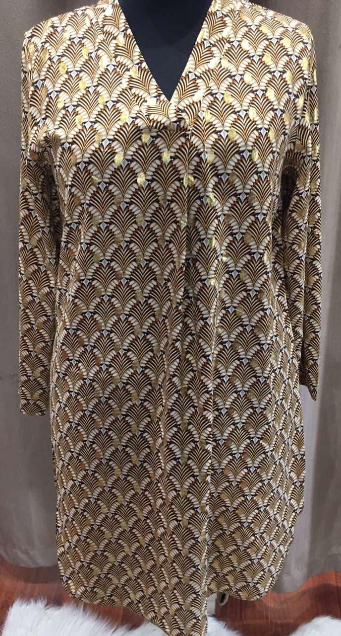 robe droite motif - ROB_DRO_MOT_MARRON