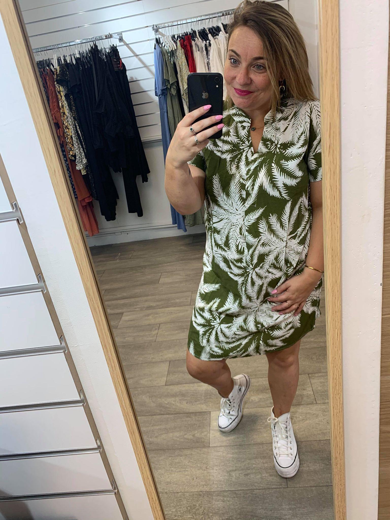 robe kaki fleurie blanche  - ROB_KAKI_BLC