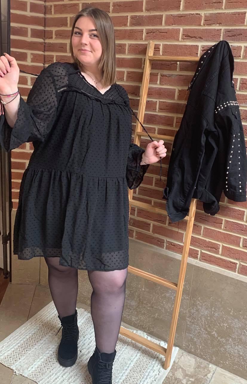 Robe noir pois noir - ROB_NOI_POI_NOI