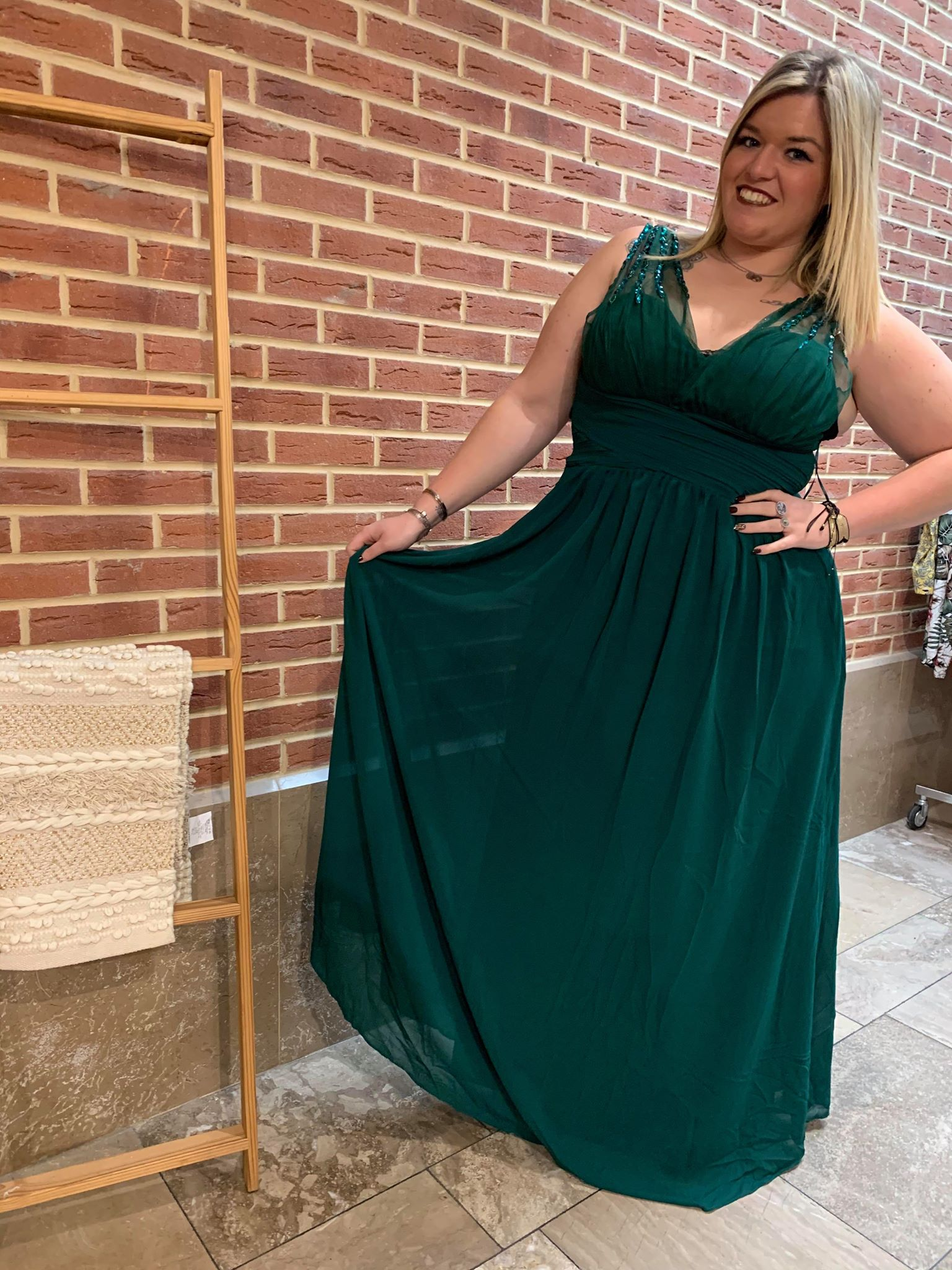 robe de soirée verte Curvy - ROB_SOI_VER_CUR