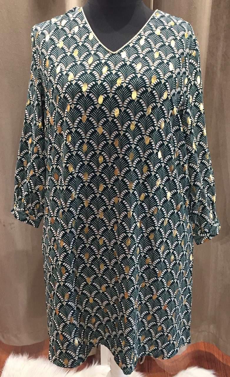 robe verte motif eventail  - ROB_VERT_EVENT