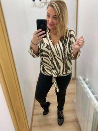 blouse leopard beige et marron - blo-leo-bei-mar