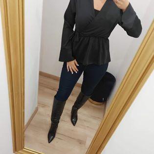 blouse satin cache coeur noir - blo-sat-cac-coe-noi