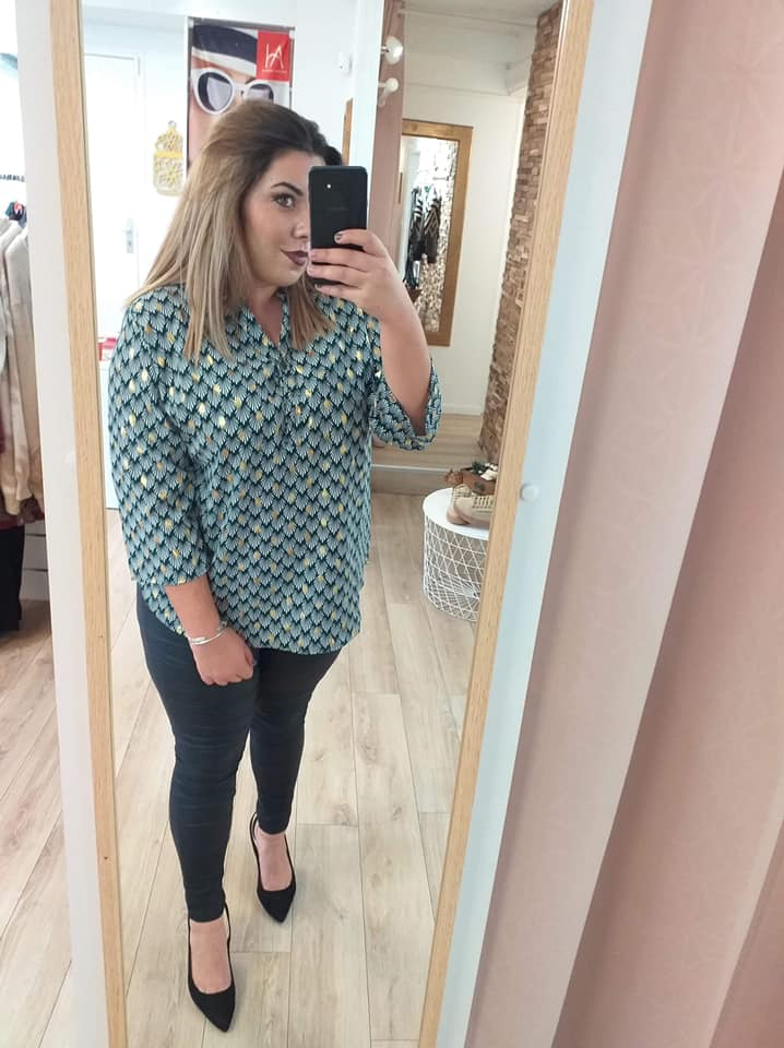 blouse verte motif - blo-ver-mot