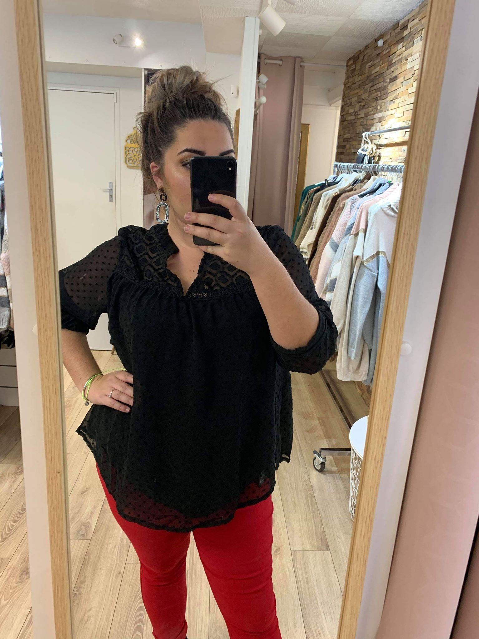 blouse manche transparente - blousegtocé