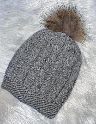 bonnet  - bonnet-pompom-gris