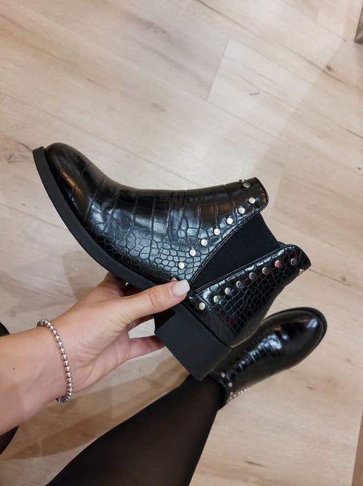 boots croco clou noir - boo-cro-clo-noi