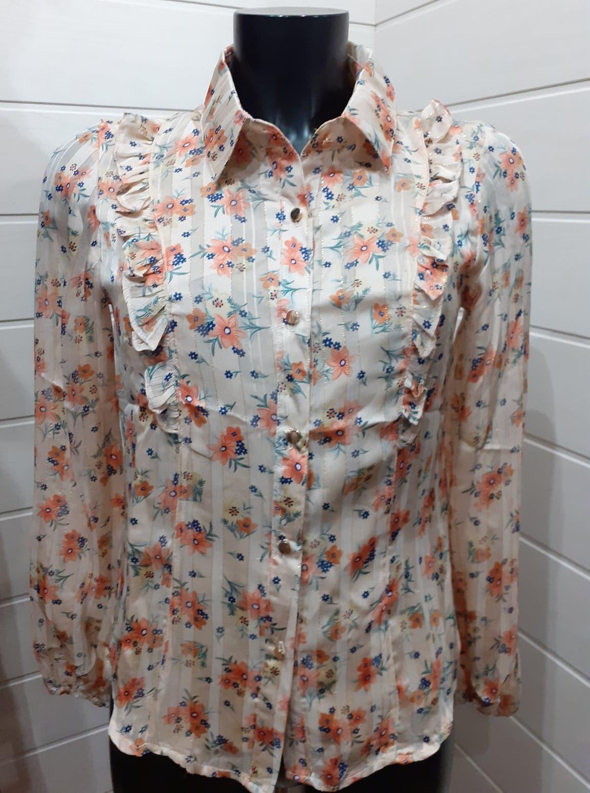 chemise beige fleuri  - che-bei-fle