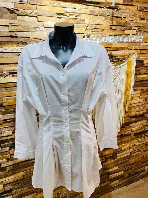 chemise longue cintrée blanche  - che-lon-cin-bla
