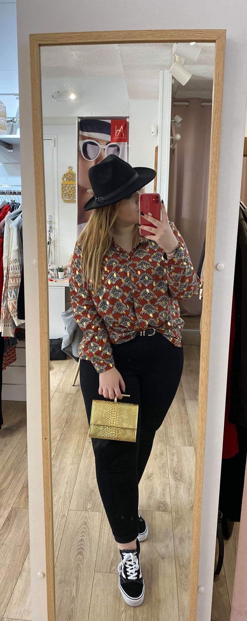 chemise marron a motif  - chemisemarrmotgt
