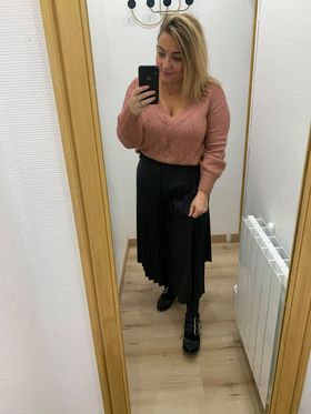 jupe longe plissée noir - jup-lon-pli-noi