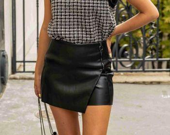 jupe short simili noir - jup-sho-sim-noi