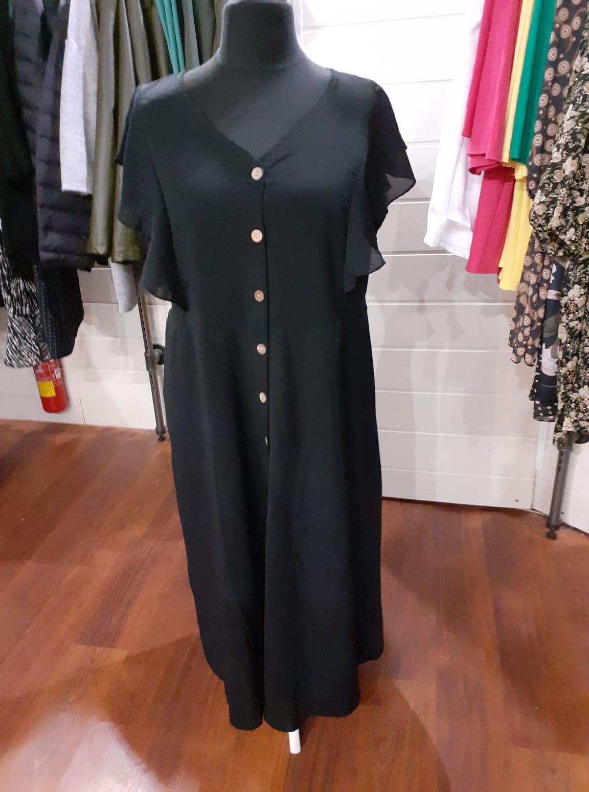 longue robe noir manche courte boutonné  - lon-rob-noir-bou