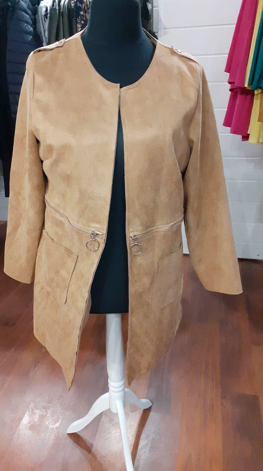 longue veste peau de peche beige - lon-ves-pea-pech-bei