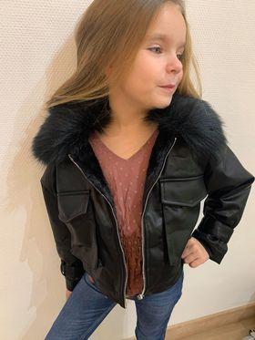 manteau col fourrure enfant - man-col-fou-enf