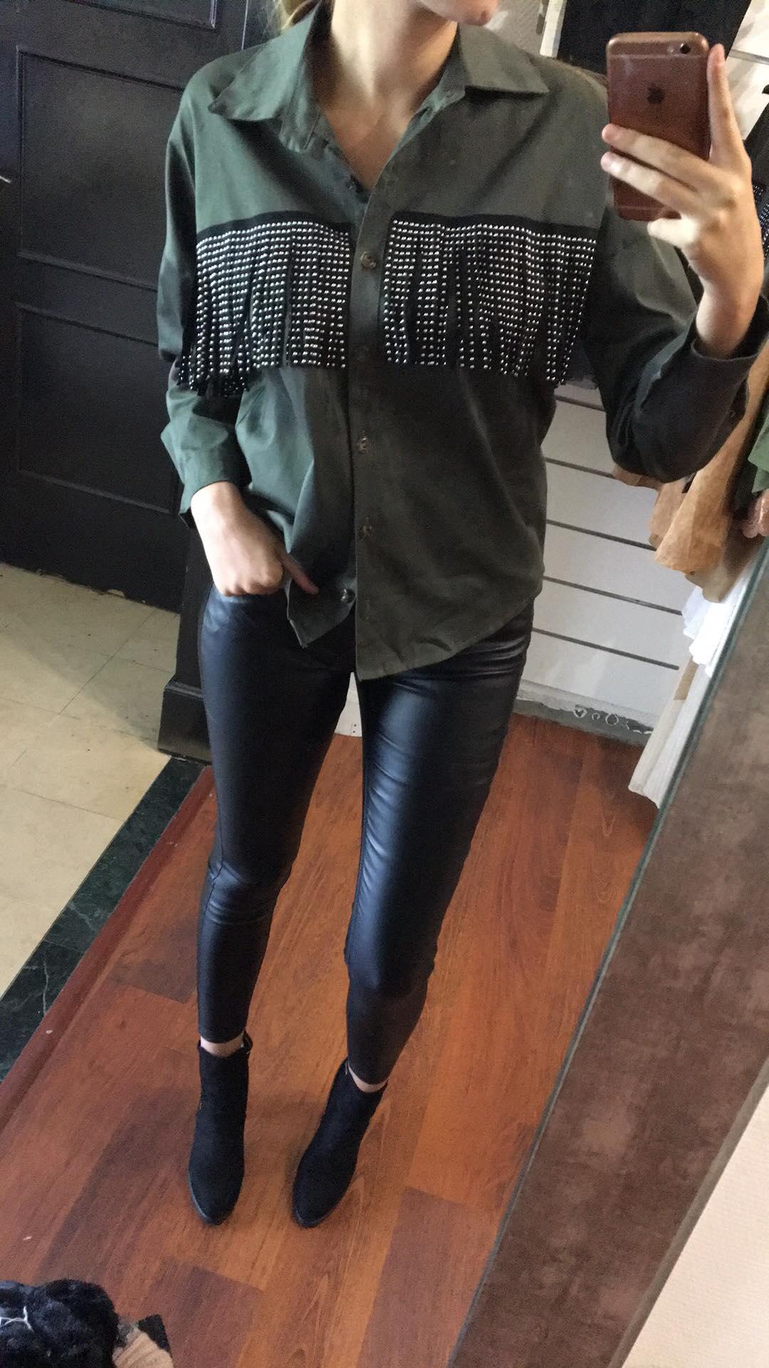 Pantalon huilé noir  - panhuipt