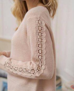 pull manche crochet rose - pul-man-cro-ros
