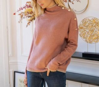 pull vieux rose touche or - pul-vie-ros-tou-or