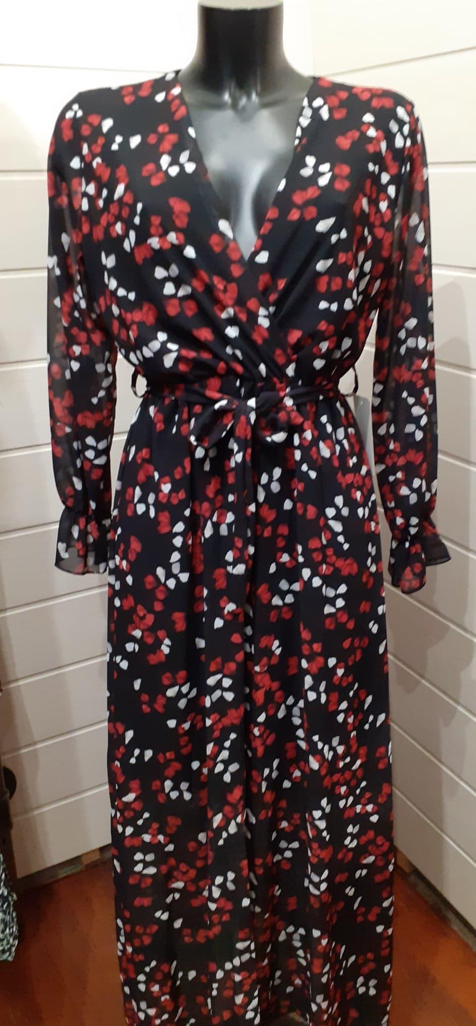 longue robe noir fleur rouge et blanche manche longue - rob-lon-fle-rou-bla