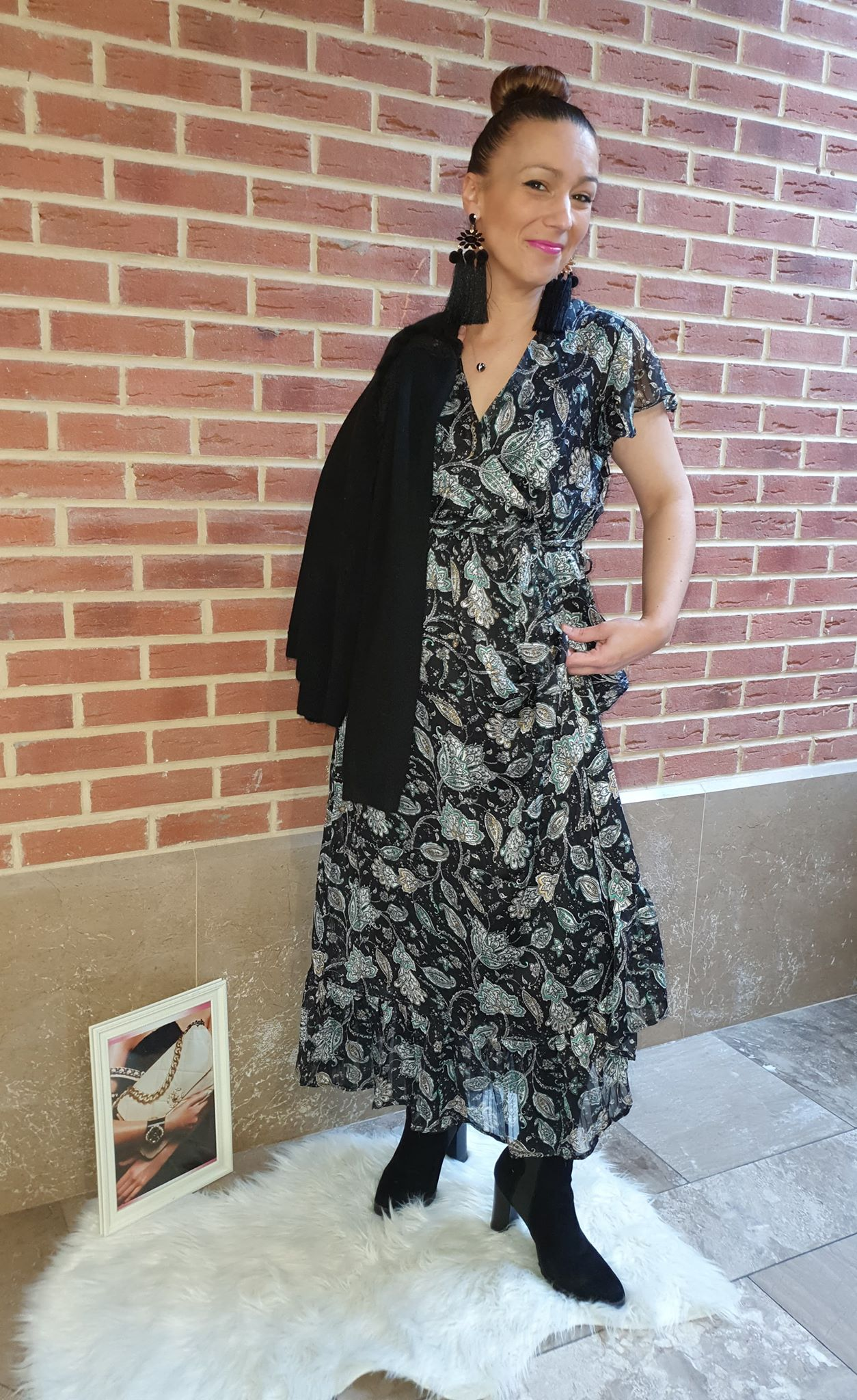robe longue noir et vert motif - rob-lon-noi-ver