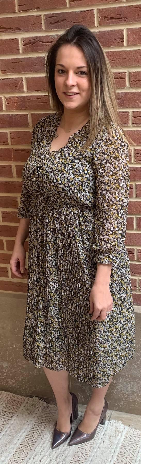 robe mi longue plissé petite fleur - rob-mi-lon-pli-pet-fle