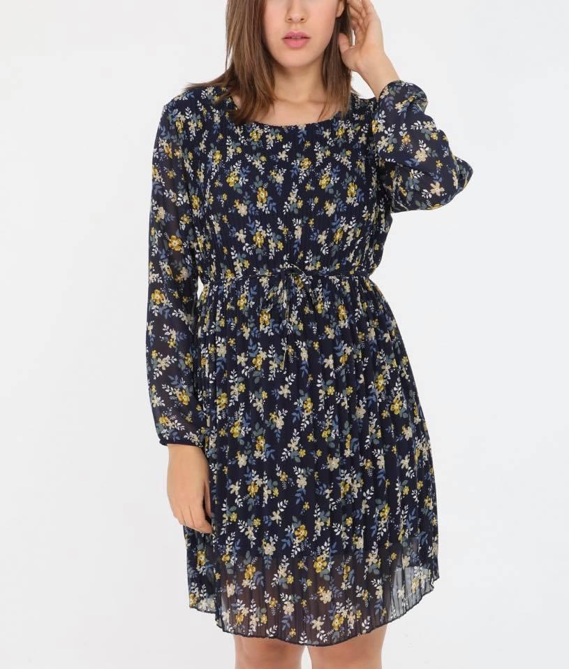 robe plissée bleue fleurie - rob-pli-flebl