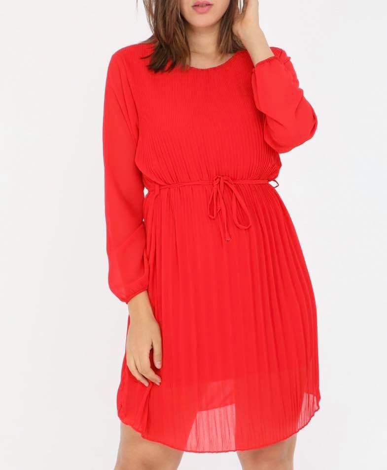 robe plissée rouge - rob-plired