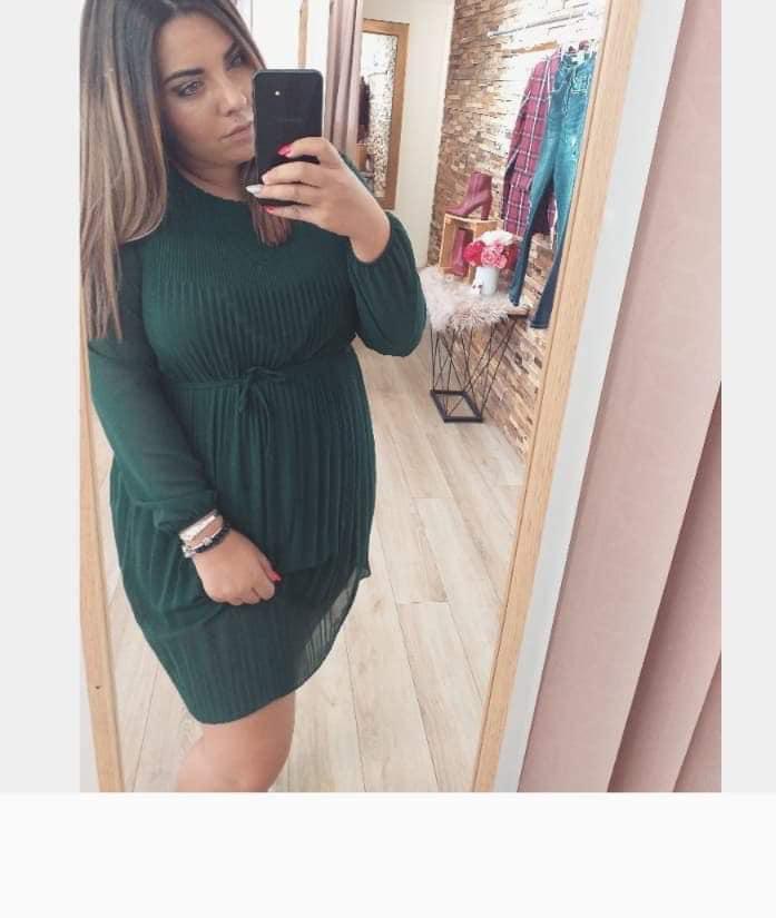 robe plissée vert bouteille - rob-plivert