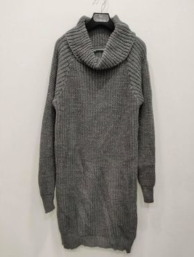robe pull col roulé gris - rob-pul-col-rou-gri