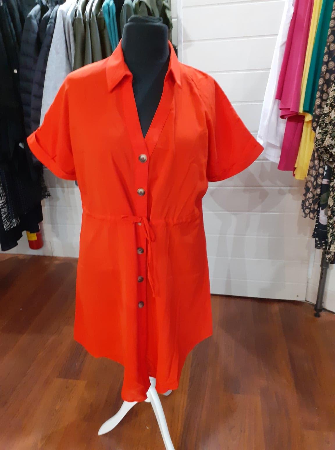 robe rouge boutonné manche courte - rob-rou-bou-man-cou