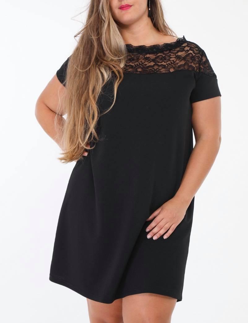 petite robe noir avec dentelle au col - robe-gtdent