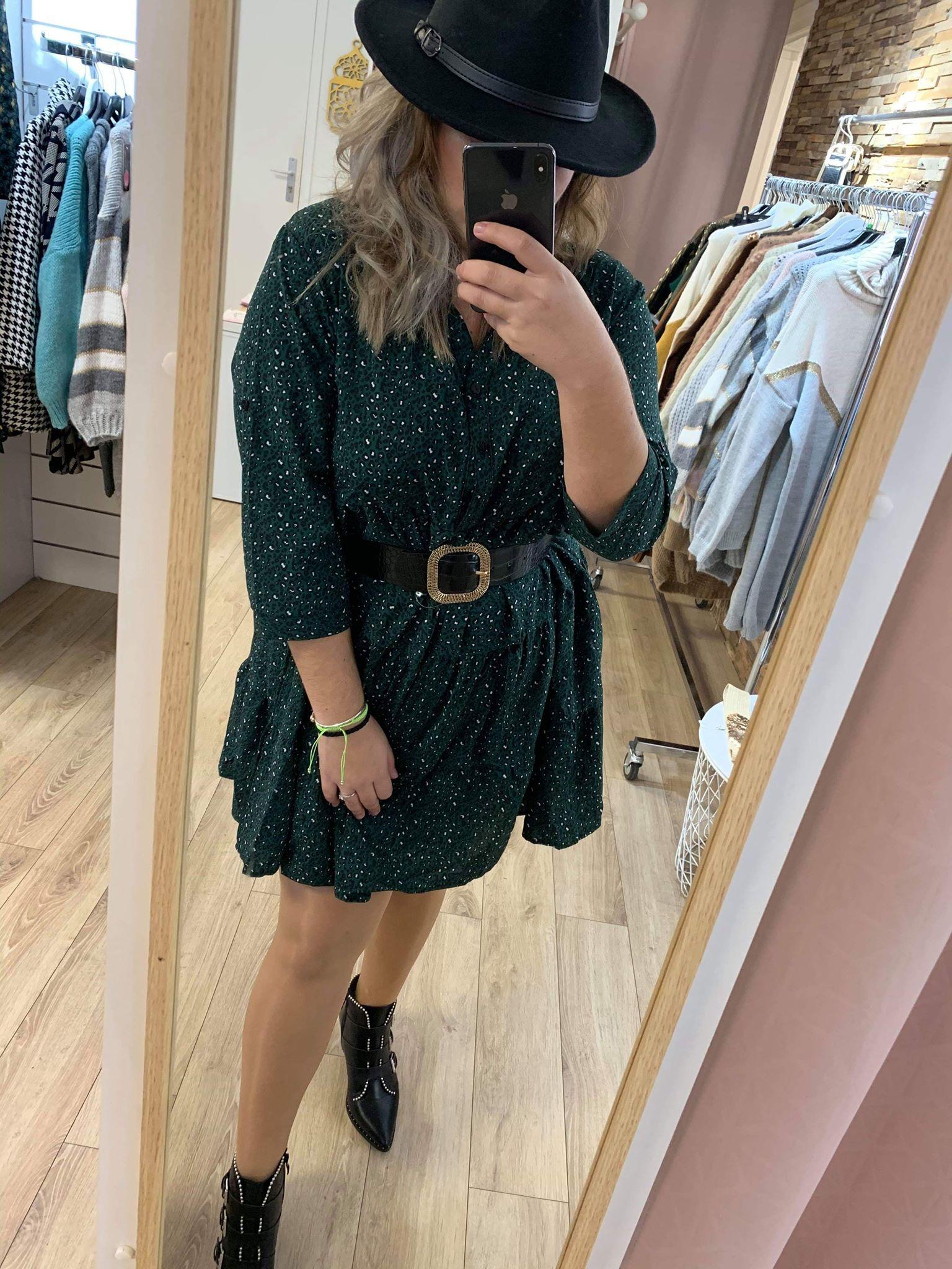 robe courte leopard verte - robeleovert