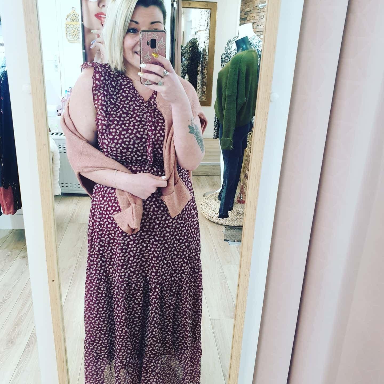 robe longue bordeau fleuri - robelongueNEWCO