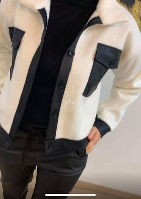 veste bi matiere blanc - ves-bi-mat-bla