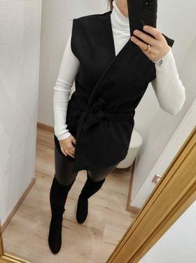 veste sans manche courte noir  - ves-san-man-cou-noi