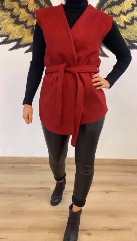 veste sans manche courte rouge - ves-san-man-cou-rou